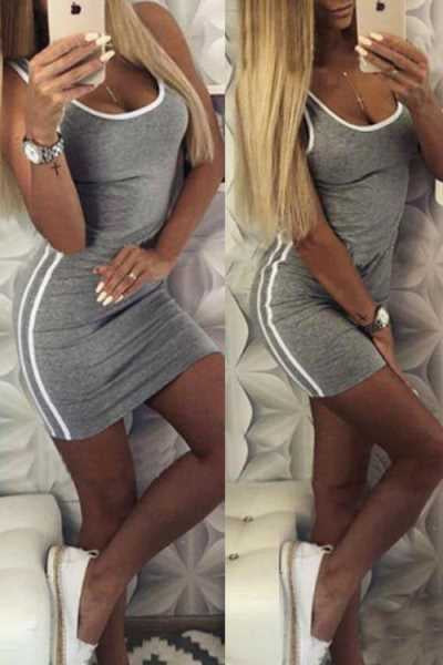 Suolory Sporty Bodycon U-neck Sleeveless Mini Dress
