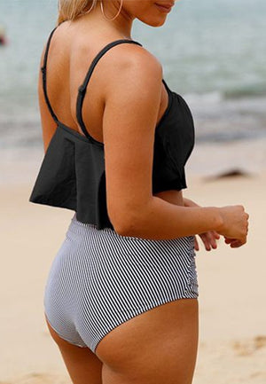 Overlay Black Swimwear Top and High Waist Panty