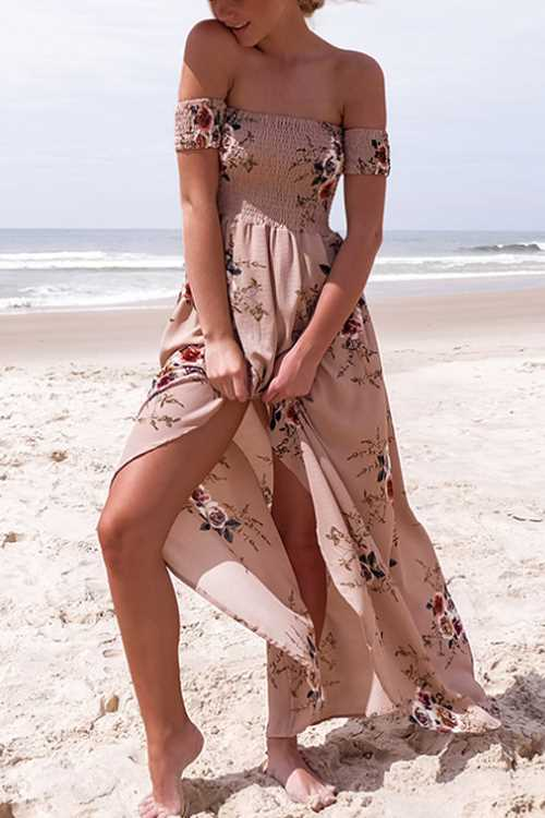 Trendylov Bohemian Strapless High Split Floral Print Maxi Dress
