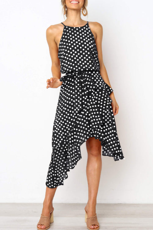 Trendylov Sweet Sleeveless Polka Dot Print Irregular Midi Dress