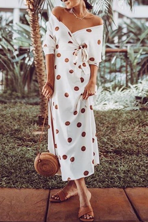 Suolory Bohemian V-neck Polka Dot Print Maxi Dress