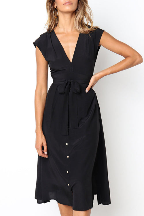 Trendylov Casual V-neck Sleeveless Tie Design Midi Dress