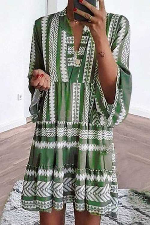 Trendylov Bohemian Loose Geometric Print Mini Dress