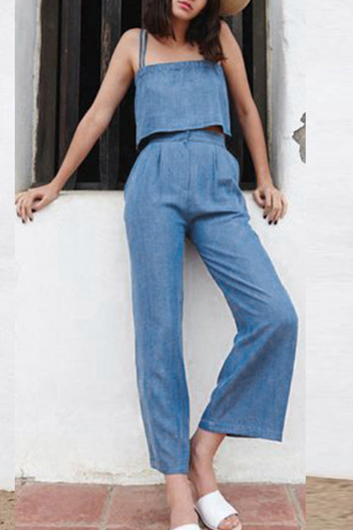 Suolory Casual Loose Spaghetti Strap Denim Pants Sets (With Pocket)