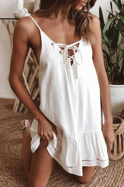 Suolory Bohemian Spaghetti Strap Lace Mini Dress