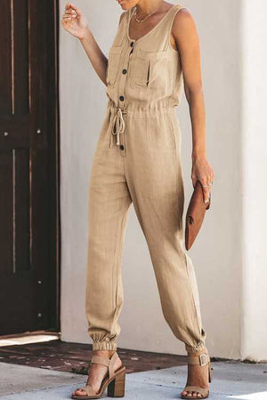 Trendylov Casual Frock Style Tie Botton Up Jumpsuit