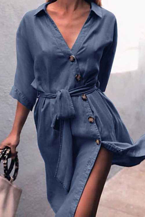 Trendylov Casual Lace Up Denim Midi Shirt Dress
