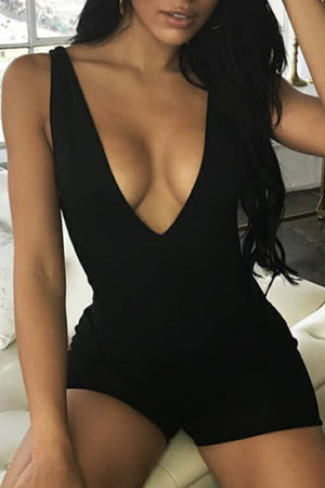 Trendylov Sporty Bodycon V-neck Sleeveless Romper