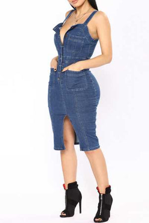 Trendylov Casual Spaghetti Strap Button Up Denim Split Midi Dress