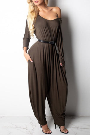 Trendylov Casual Loose One-shoulder Backless Jumpsuit (With Belt)