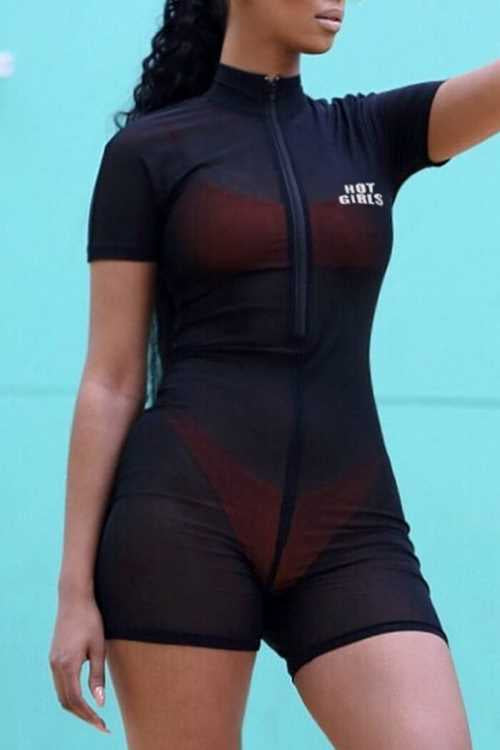 Trendylov Sporty Zip Up See-through Romper