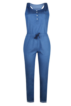 Trendylov Casual Sleeveless Button Up Denim Jumpsuit