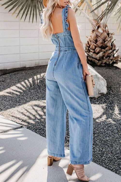 Trendylov Casual Flounce Trim Back Zip Up Jumpsuit