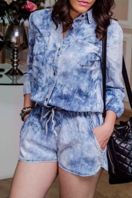 Trendylov Casual Lace Botton Up  Denim Romper