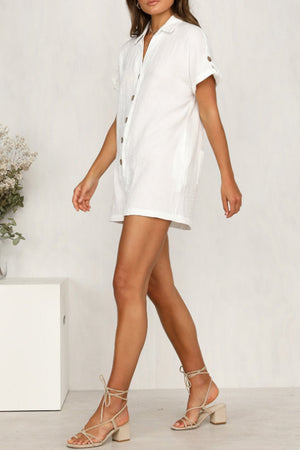 Trendylov Casual Solid Color Button Up Romper