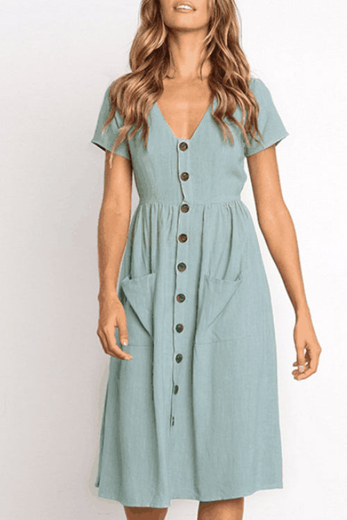 Trendylov Casual Solid Color V-neck Botton Up Midi Dress