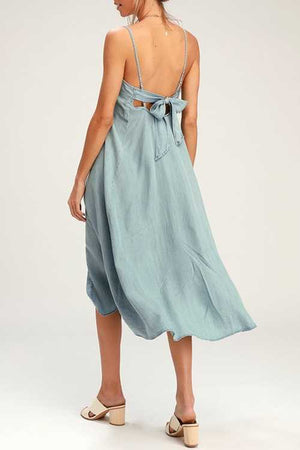Trendylov Casual Spaghetti Strap Back Tie Split Denim Midi Dress