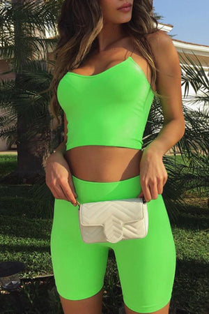 Trendylov Sporty Spaghetti Strap Solid Color Shorts Sets
