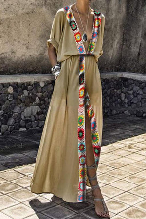 Trendylov Casual Deep V-neck Patchwork Maxi Dress