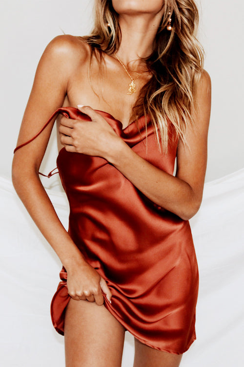 Trendylov Casual Spaghetti Strap Satin Mini Slip Dress