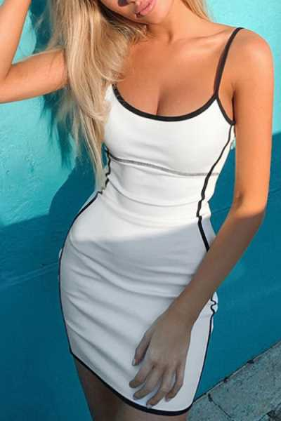 Suolory Sporty Spaghetti Strap White Mini Dress
