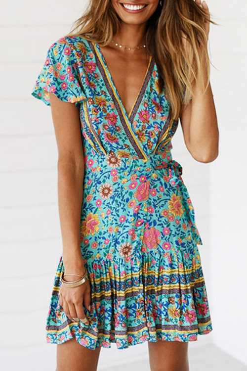 Suolory Bohemian V-neck Floral Print Mini Dress