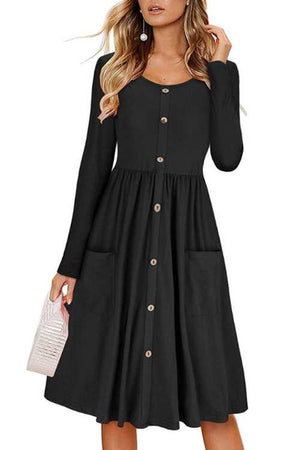 Trendylov Casual Long Sleeve Button Up Midi Dress