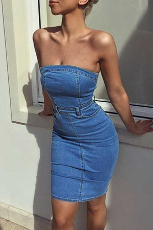 Trendylov Casual Strapless Denim Mini Dress