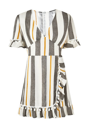 Trendylov Bohemian V-neck Patchwork Striped Print Mini Dress