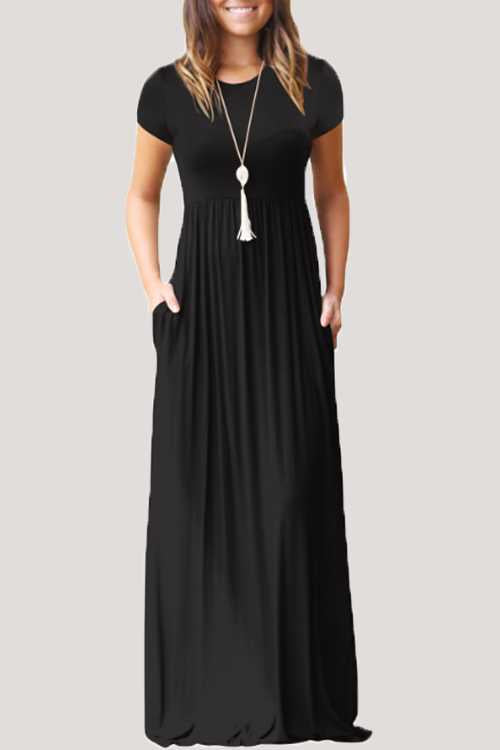 Trendylov Casual Solid Color Maxi Dress (With Pocket)