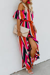Trendylov Bohemian Off The Shoulder Striped Print Flounce Trim Maxi Dress