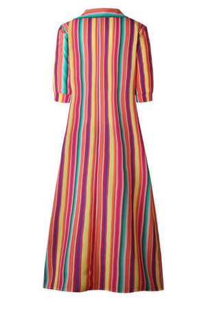 Trendylov Casual Half Sleeve Striped Print Button Up Shirt Maxi Dress