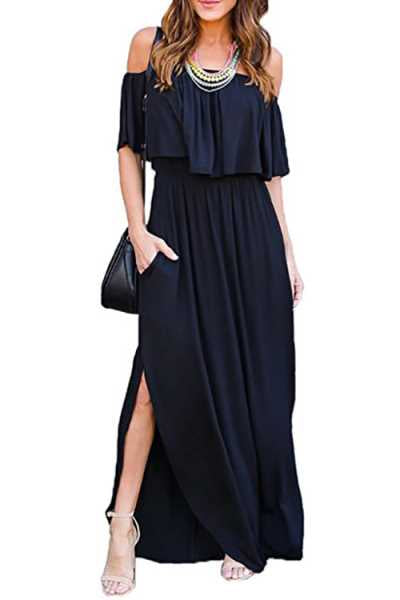 Trendylov Casual Off Shoulder Flounce Trim Split Maxi Dress (With Pocket)