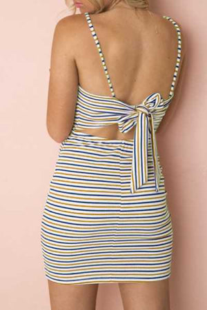 Trendylov Bohemian Spaghetti Strap Striped Print Tie Mini Dress