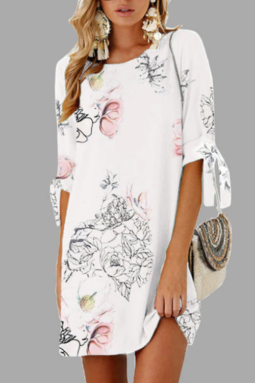 Trendylov Casual Half Sleeve Floral Print Mini Dress
