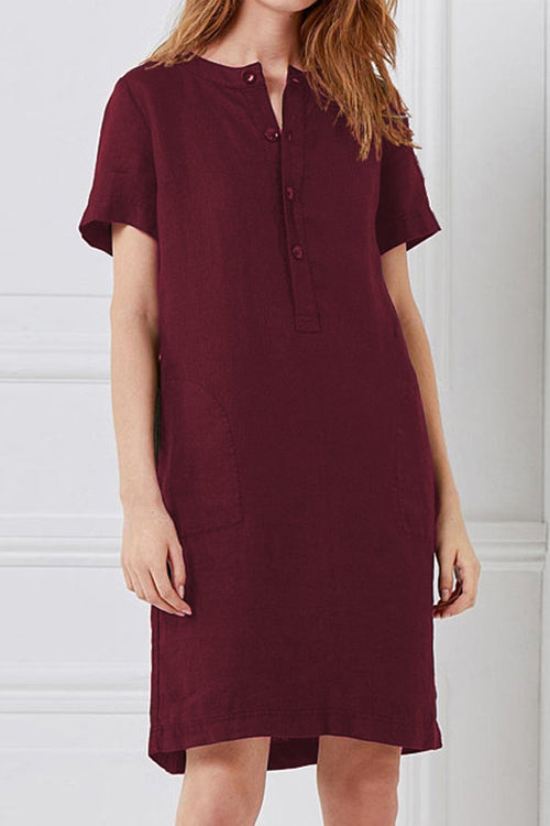 Trendylov Casual Button Up Midi Dress (With Pocket)