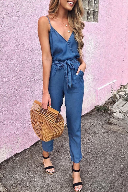 Trendylov Casual Spaghetti Strap Deep V-neck Denim Jumpsuit