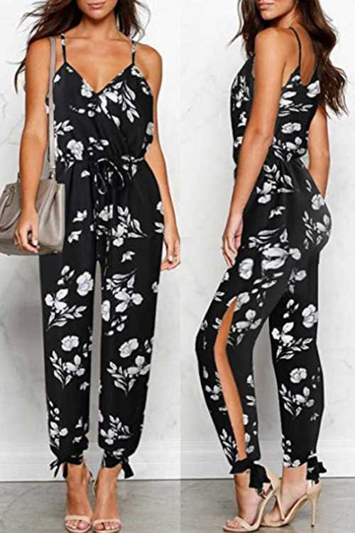Trendylov Casual Deep V-neck Backless Lace-up Jumpsuit