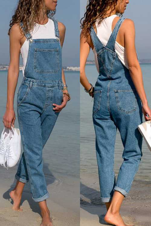 Trendylov Casual Denim Jumpsuit (With Pocket)