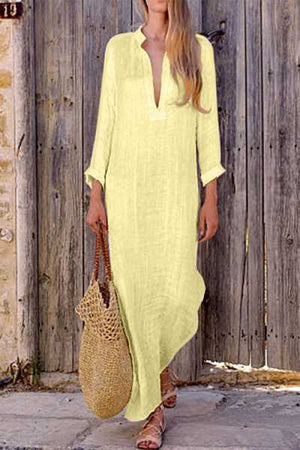 Trendylov Bohemian Loose Solid Color Split Maxi Dress