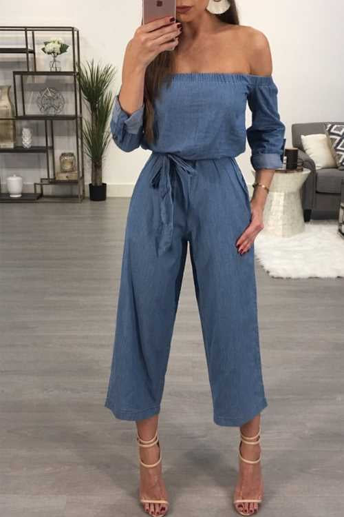 Trendylov Casual Off The Shoulder Denim Jumpsuit