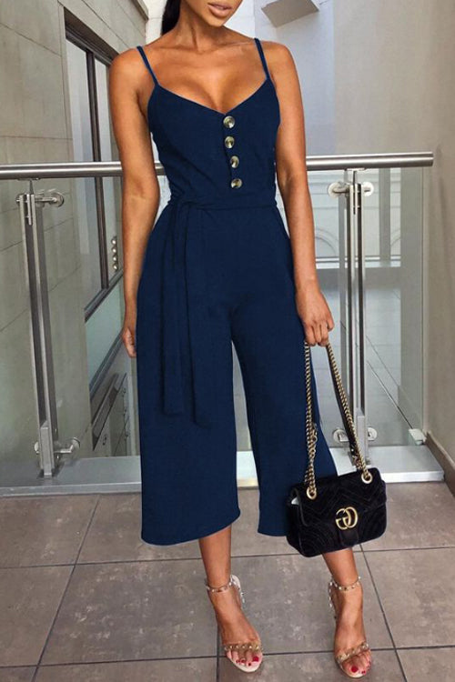 Trendylov Casual Spaghetti Strap Button Up Jumpsuit