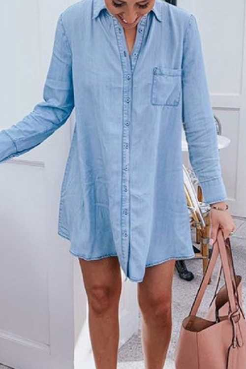 Trendylov Casual Botton Up Denim Mini Shirt Dress