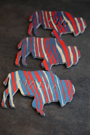 Red/Blue Wood Buffalo Magnet