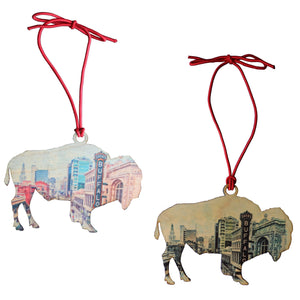 Two Pack Wooden Ornaments