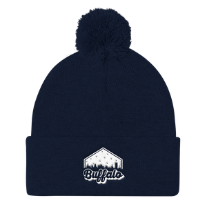 Retro Buffalo Pom Pom Knit Cap