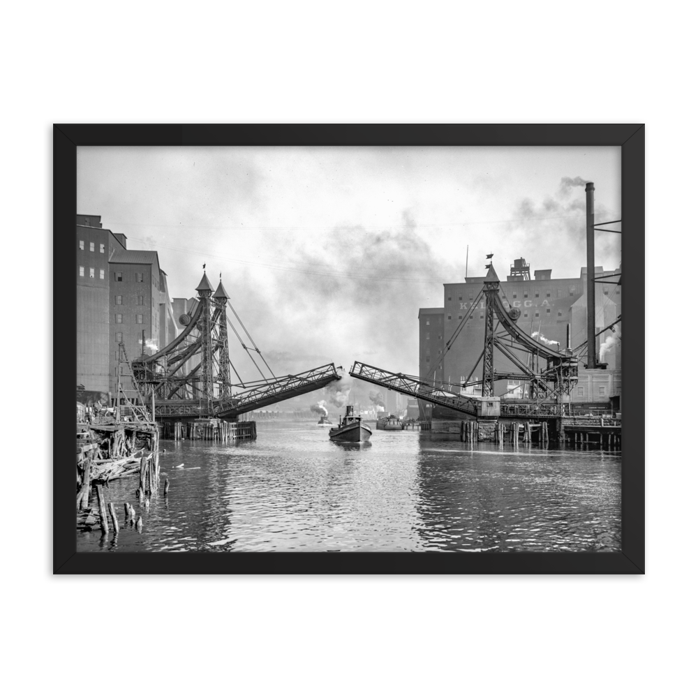 Michigan St. Bridge c1905 Framed poster