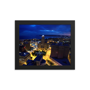 Buffalo Downtown Dusk Framed Poster