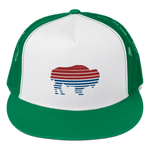Red & Blue Buffalo Striped Trucker Cap