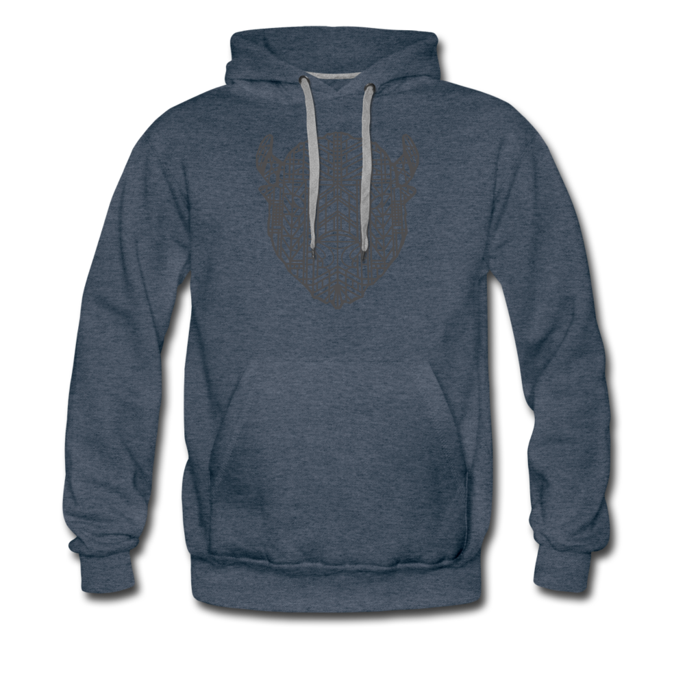 Men's Geo Premium Hoodie - heather denim